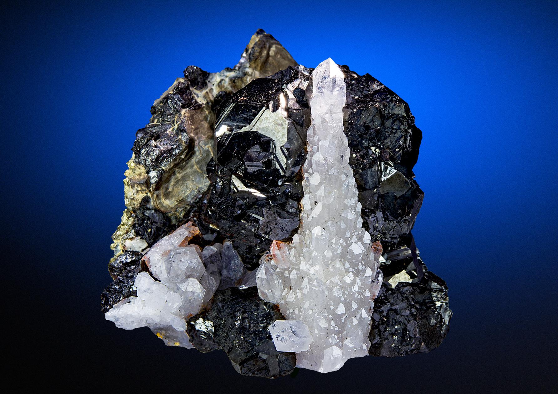 Quartz Crystals after Spharelite with Long Sharpy Crystals Cluster Specimen